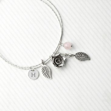 Personalised Rose Bracelet With Rose Quartz Stones